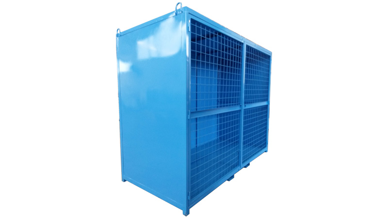 Steel container for gas cylinder storage