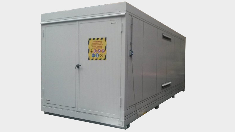 Insulated Container REI/EI 120: fire protection doors and Atex illumination