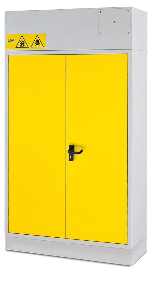 SAFETY CABINETS FOR ACIDS, CHEMICALS AND BASES