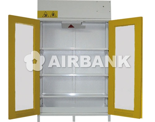 Safety cabinets certified for ACIDS, CHEMICALS AND BASES with glass doors  | AIRBANK Industria Sicurezza Ambiente