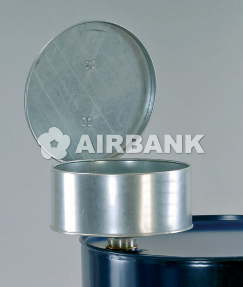 Galvanized steel funnel with lid.  | AIRBANK Industria Sicurezza Ambiente